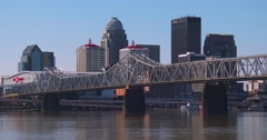 Establishing shot of Louisville, Kentucky with Ohio River foreground. Stock Footage