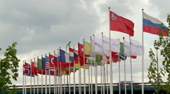 International flags at the '21st World Petroleum Congress' Stock Footage