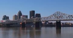Establishing shot of Louisville, Kentucky with Ohio River foreground. - stock footage