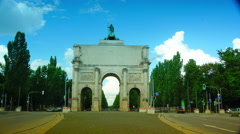 The Siegestor gate in the background are landmarks of the Munich, time lapse Stock Footage