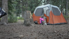setting up camp with kids - stock footage