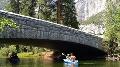 4K Time Lapse of River Rafting under the Bridge in Yosemite Valley -Close Up- Stock Footage
