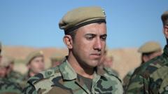 Close up of Kurdish Peshmerga training in Northern Iraq Stock Footage