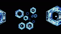3D HEXAGON SPACE TIME TRAVEL HOLOGRAM. ALPHA MATTE. Stock Footage