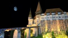 Old Castle At Night With Moon Stock Footage
