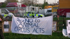 Circus anti cruelty demonstration police presence - stock footage