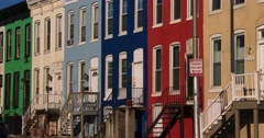 Colorful rowhouses line the streets of Baltimore, Maryland. Stock Footage
