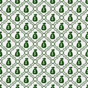 Green and white money bag repeat pattern background Stock Illustration