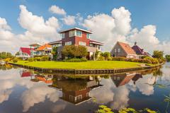 Contemporary villas in the province of friesland, the netherlands Stock Photos