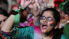 "Women chanting ""Go Nawaz Go"" at PTI Azadi March Protest in Karachi, Pakistan Stock Footage"