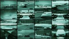 Airport traffic control center. CCTV split screen airport security. Stock Footage