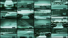 CCTV split screen airport security. Airport traffic control center. - stock footage