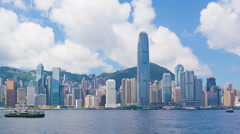 Panning timelapse video of Victoria Harbour in Hong Kong in daytime Stock Footage