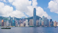 Stock Video Footage of Panning timelapse video of Victoria Harbour in Hong Kong in daytime