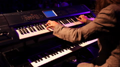 piano synthesizer musician  player live concert - stock footage