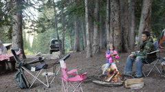 Family camping with kids Stock Footage