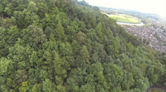 Flying over William Wallace monument in Stirling, Scotland on a summer day Stock Footage