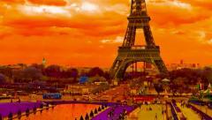 Pan Eiffel Tower Paris vibrant colors, France, time lapse Stock Footage