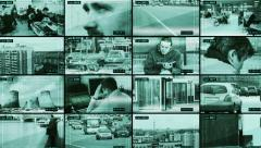 Police surveillance facility. CCTV split screen. Arkistovideo