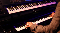 synthesizer piano musician  player live concert - stock footage