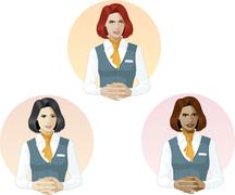 Woman in air hostess uniform support expert - stock illustration