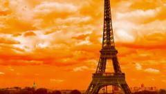 Tilt Eiffel Tower Paris vibrant colors, France, time lapse Stock Footage