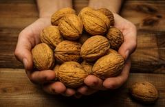 hunan hands holding handful of walnuts over wooden table - stock photo