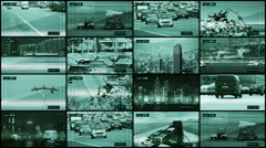 CCTV split screen. Transportation system. - stock footage