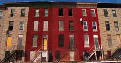 Abandoned buildings in a North Baltimore slum. Stock Footage