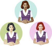 Woman in service uniform support expert - stock illustration