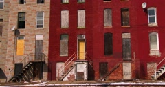 Abandoned buildings in a North Baltimore slum. - stock footage