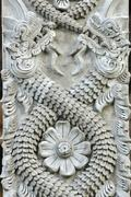 stone dragon pole - stock photo