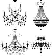 chandelier lamp vector - stock illustration