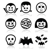 Halloween characters - Dracula, Frankenstein, mummy icons - stock illustration