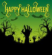 halloween background with zombies hand and bat - stock illustration