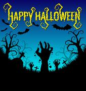 Halloween background with zombies hand and bat Stock Illustration