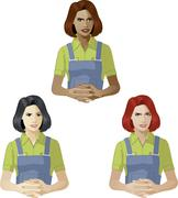 Stock Illustration of Woman in worker uniform support expert