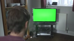 Green Screen TV - Living Room with Remote 03 - stock footage