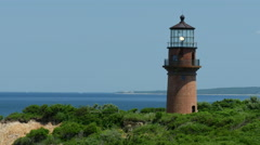 Martha's Vineyard Lighthouse on a sunny day 3 4k Stock Footage