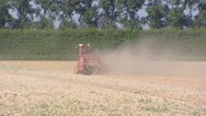 Stock Video Footage of Onion harvest in late summer + zoom out.  Goeree-Overflakkee, The Netherlands