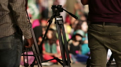 Camera Crews get ready to film Azadi March Protest in Karachi, Pakistan Stock Footage