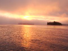 Sunrise on Minnesota lake - stock footage