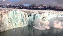 Ice Calving From The Tidewater Glacier Stock Footage