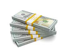 Stack of new US dollars 2013 edition bills - stock illustration