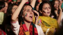 "Young girls sing for a ""New Pakistan"" at PTI Azadi March Protest Stock Footage"