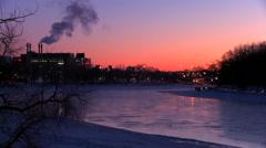 Downtown Winnipeg, Manitoba, Canada at dusk. Stock Footage