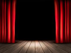 theater stage with wooden floor and red curtains. vector. - stock illustration