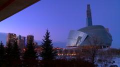 Downtown Winnipeg, Manitoba, Canada at dusk. - stock footage