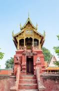 archives tripitaka at wat phra that hariphunchai temple - stock photo