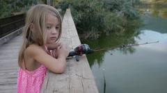 Fishing on a bridge Stock Footage